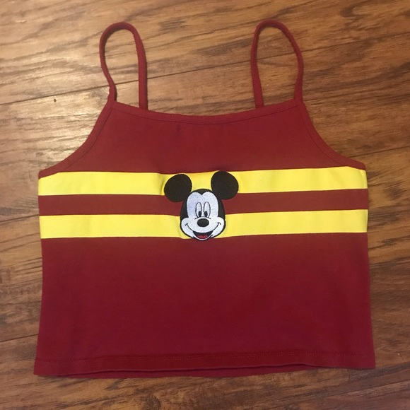 Disney Tops - Disney Red and Yellow Mickey Mouse Crop Top